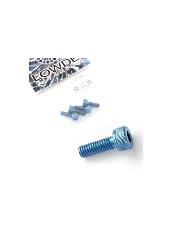Bolsa 4 tornillos DIN 912 de titanio gr. 2 M4x12 anodizados color azul claro