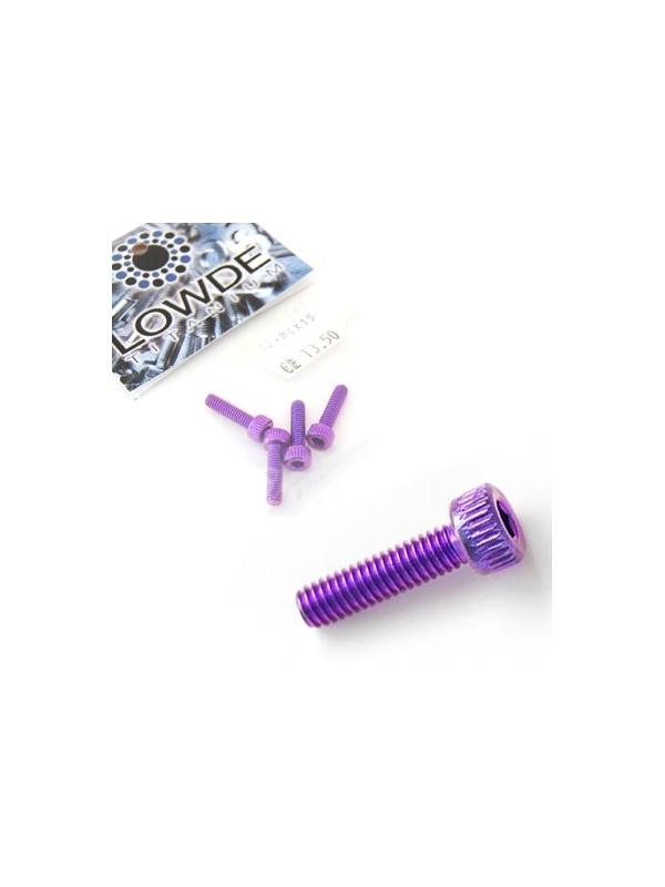 Bolsa 4 tornillos DIN 912 de titanio gr. 2 M4x15 anodizados color violeta - Bolsa 4 tornillos DIN 912 de titanio gr. 2 M4x15 anodizados color violeta