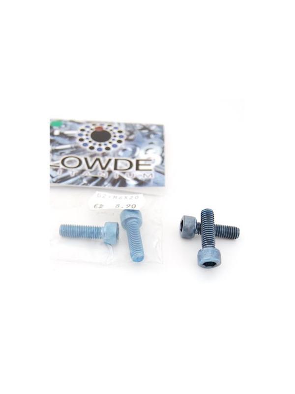 Bolsa 2 tornillos DIN 912 de titanio gr. 2 M6x20 anodizados color azul claro