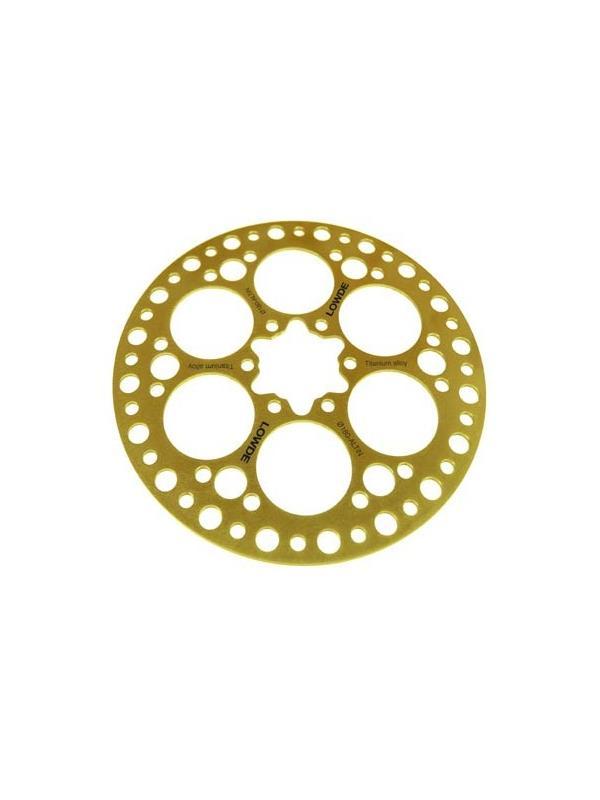 DISCO FRENO de aleación de titanio Ø 180 mm. recubierto TiN - DISCO DE FRENO de aleación de titanio Ø 180 mm. con recubrimiento TiN. Incluye tornillos.