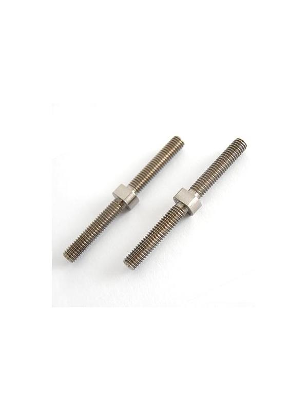 Tornillo doble rosca M6. Las dos roscas son normales, en el mismo sentido - Tornillo doble rosca M6. Las dos roscas son normales, en el mismo sentido. Mecanizado en aleación de titanio gr. 5 (6Al4V) Longitud total: 65 mm.