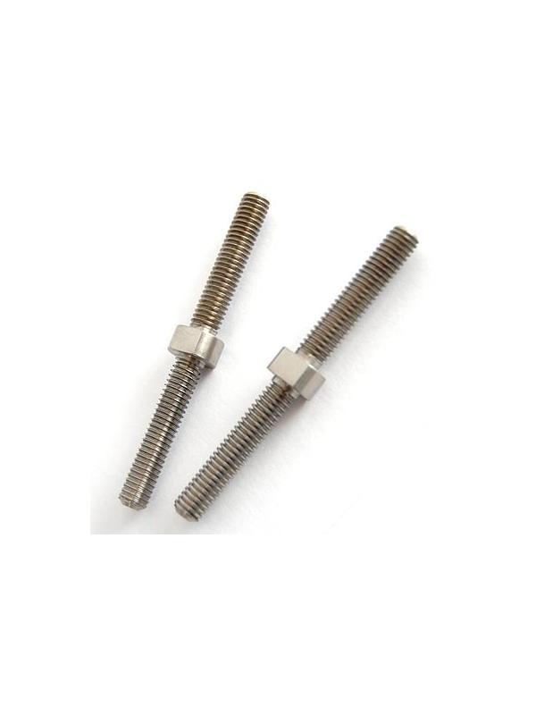 Tornillo tensor doble rosca M6. Rosca a izquierda y a derecha - 1 Tornillo tensor doble rosca M6. Rosca a izquierda y a derecha mecanizado en aleación de titanio gr. 5 (6Al4V) Longitud total: 65 mm.