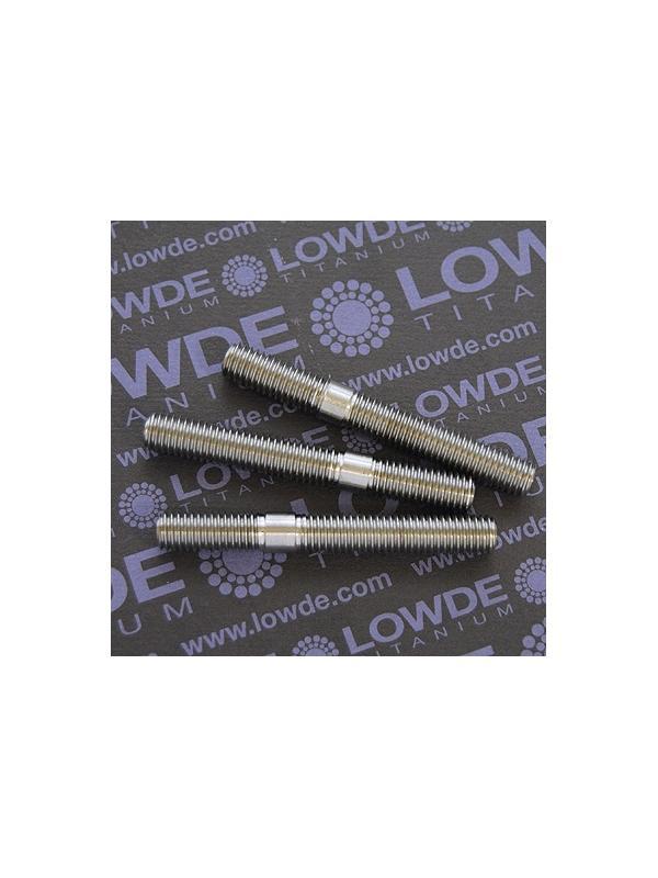 Espárrago roscado según dibujo M8x64 de titanio gr. 5 (6Al4V) - Espárrago roscado con tope en parte centrál, según plano, M8x64 mm. de titanio gr. 5 (6Al4V)