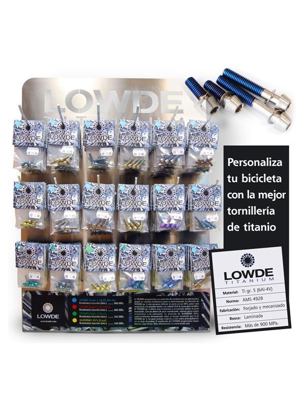 EXPOSITOR 18 REFS. 2017 - EXPOSITOR TORNILLOS DE TITANIO PARA TIENDA DE CICLISMO. El P.V.P. por bolsa de tornillos es de 19,90 euros (I.V.A. incluido). Todas las bolsas tienen el mismo precio.