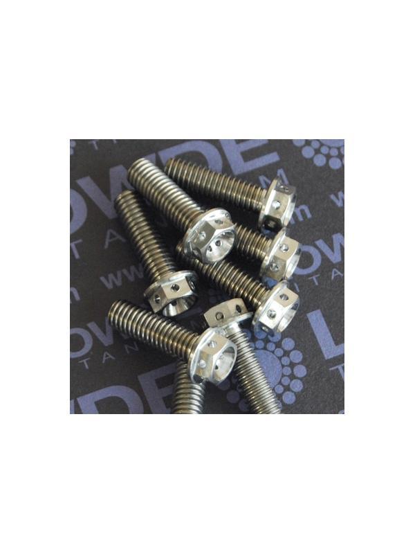 HEXAGONAL CON BALONA M6x20 mm. titanio gr. 5 (6Al4V) con taladros - HEXAGONAL CON BALONA M6x20 mm. titanio gr. 5 (6Al4V). Con taladros en cabeza para alambre de seguridad.