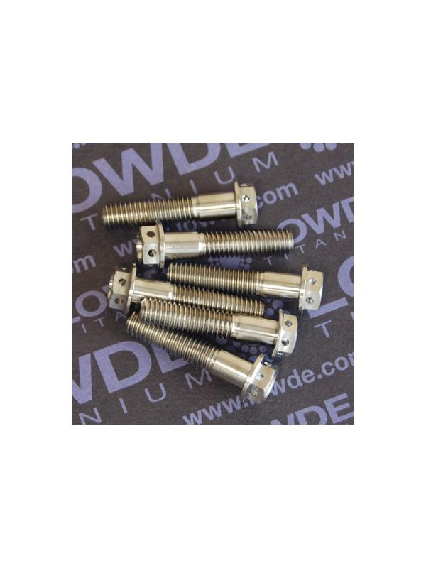 HEXAGONAL CON BALONA M6x28 mm. titanio gr. 5 (6Al4V) con taladros - HEXAGONAL CON BALONA M6x28 mm. titanio gr. 5 (6Al4V). Con taladros en cabeza para alambre de seguridad.