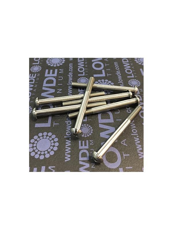 Boton ISO 7380 M4x45 mm. de titanio gr. 5 (6Al4V). Rosca 15 mm. - Tornillo de botón ISO 7380 M4x45 mm. de titanio gr. 5 (6Al4V). Longitud roscada: 15 mm.