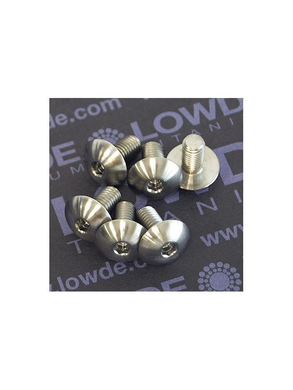 Boton ISO 7380 M5x10 mm. de titanio gr. 5 (6Al4V). Diámetro cabeza: 12 mm. - 1 tornillo de boton ISO 7380 M5x10 mm. de titanio gr. 5 (6Al4V). Diámetro cabeza: 12 mm.