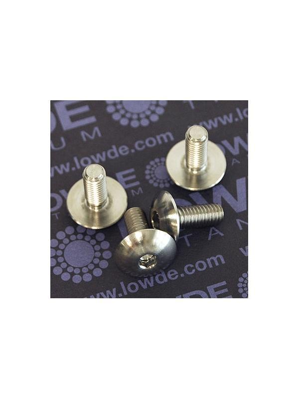 Boton ISO 7380 M6x12 mm. de titanio gr. 5 (6Al4V). Diámetro cabeza: 16 mm. - 1 Tornillo de boton ISO 7380 M6x12 mm. de titanio gr. 5 (6Al4V). Diámetro cabeza: 16 mm.