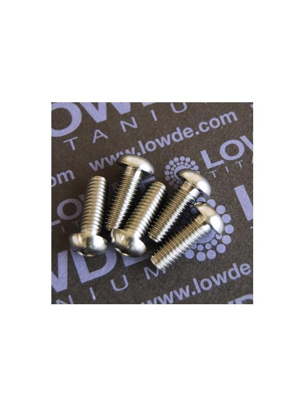 Boton ISO 7380 M6x17 mm. de titanio gr. 5 (6Al4V). Diámetro cabeza: 10 mm. - 1 Tornillo de boton ISO 7380 M6x17 mm. de titanio gr. 5 (6Al4V). Diámetro cabeza: 10 mm.