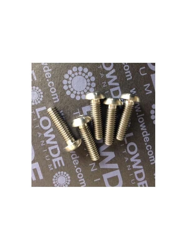 Boton ISO 7380 M6x20 mm. de titanio gr. 5 (6Al4V). Diámetro cabeza: 10 mm. - 1 Tornillo de boton ISO 7380 M6x20 mm. de titanio gr. 5 (6Al4V).