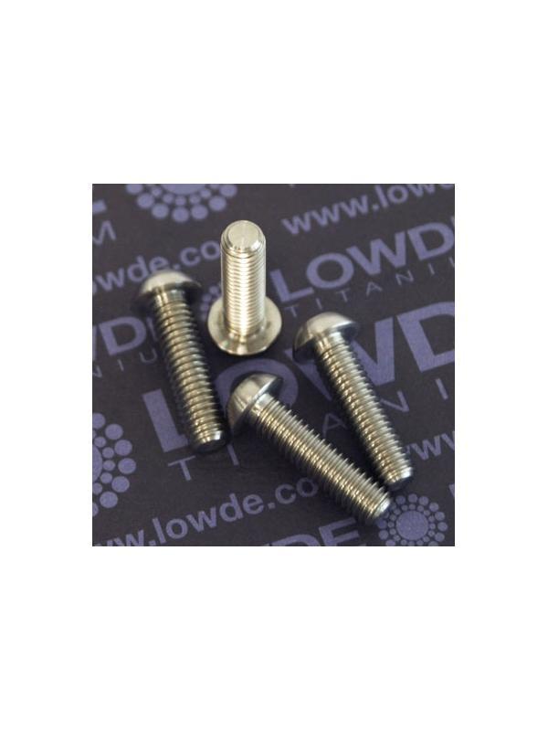 Boton ISO 7380 M6x22 mm. de titanio gr. 5 (6Al4V). Diámetro cabeza: 10 mm. - 1 Tornillo de boton ISO 7380 M6x22 mm. de titanio gr. 5 (6Al4V). Diámetro cabeza: 10 mm.
