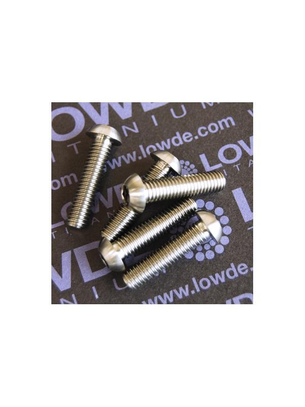 Boton ISO 7380 M6x25 mm. de titanio gr. 5 (6Al4V). Diámetro cabeza: 10 mm. - 1 Tornillo de boton ISO 7380 M6x25 mm. de titanio gr. 5 (6Al4V). Diámetro cabeza: 10 mm.