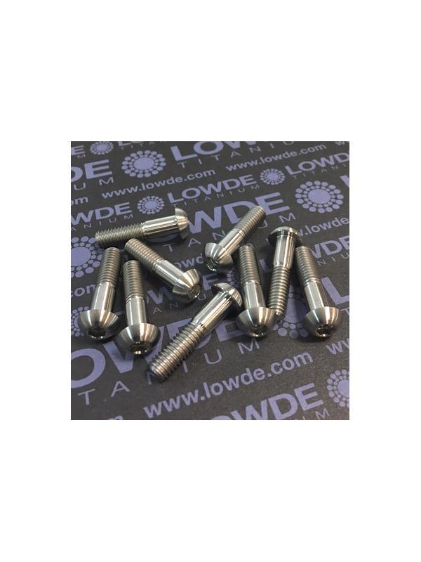 Boton ISO 7380 M6x25 mm. de titanio gr. 5 (6Al4V) - 1 Tornillo de boton ISO 7380 M6x25 mm. de titanio gr. 5 (6Al4V). Diámetro cabeza: 10,5 mm.