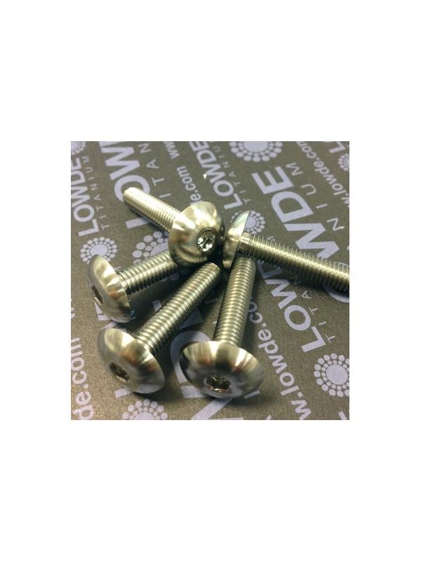 Boton ISO 7380 M6x30mm. de titanio gr. 5 (6Al4V). Diámetro cabeza: 16 mm. - 1 Tornillo de boton ISO 7380 M6x30 mm. de titanio gr. 5 (6Al4V). Diámetro cabeza: 16 mm.