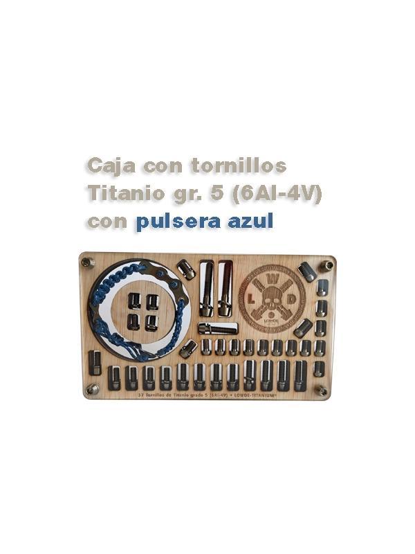 Caja de 41 tornillos Titanio gr. 5 (6Al-4V) con pulsera - Caja de 41 tornillos Titanio gr. 5 (6Al-4V) con pulsera ciclista.