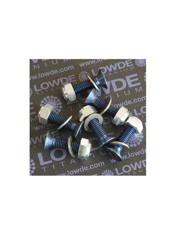Kit 6 Avellanados anodizados azul M8x30 mm. - Kit 6 Avellanados M8x30 mm. anodizados azul de Titanio gr. 5 (6Al-4V) + 6 arandelas de Titanio gr. 2 + 6 Tuercas autoblocantes DIN 985 de Titanio grado 5 (6Al-4V)