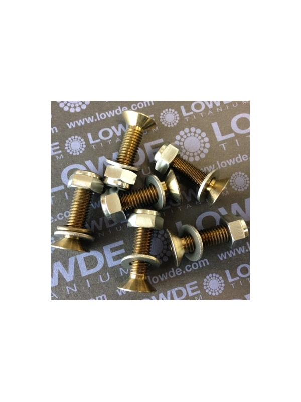Kit 6 Avellanados anodizados bronce M8x30, tuercas y arand. - Kit 6 Avellanados M8x30 mm. anodizados bronce de Titanio gr. 5 (6Al-4V) + 6 arandelas de Titanio gr. 2 + 6 Tuercas autoblocantes DIN 985 de Titanio gr. 5 (6Al-4V)