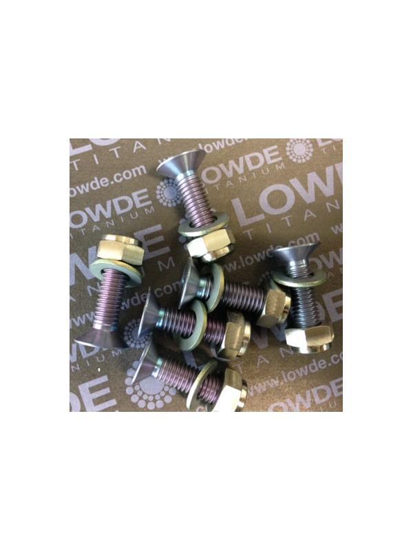 Kit 6 Avellanados DIN 7991 M8x30 gris, con tuercas y arand. - Kit 6 Avellanados DIN 7991 M8x30 mm. + 6 tuercas autoblocantes de Titanio gr. 5 (6Al-4V) + 6 arandelas. Anodizado en color gris/violeta