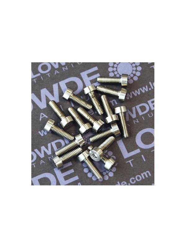 12 Screws LN 29950 M4x12 titanio gr. 5 (6Al4V) - 12 Items LN 29950 J 04 12 B M4x12 mm. titanio gr. 5 (6Al4V) AMS 4928. Fabricado bajo normativa aeroespacial.