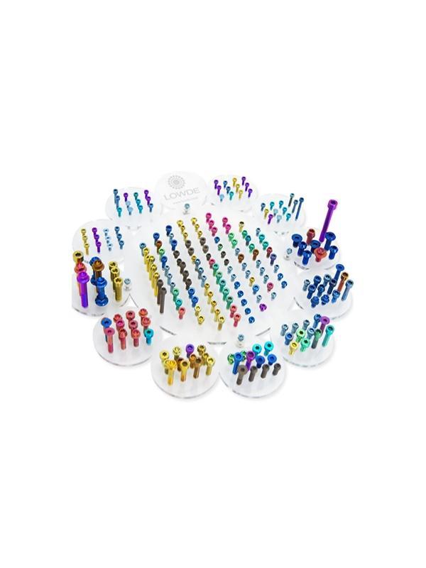 Mesa/soporte LOWDE - Mesa/soporte de metacrilato con 234 Tornillos de titanio gr. 5. Anodizados en color a elegir.