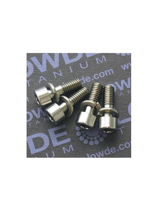 Conjunto 4 tornillos DIN 912 M6x18 titanio gr. 5 (6Al4V) roscado 10 mm. - Conjunto 4 DIN 912 M6x18 titanio gr. 5 (6Al4V) roscado 10 mm.