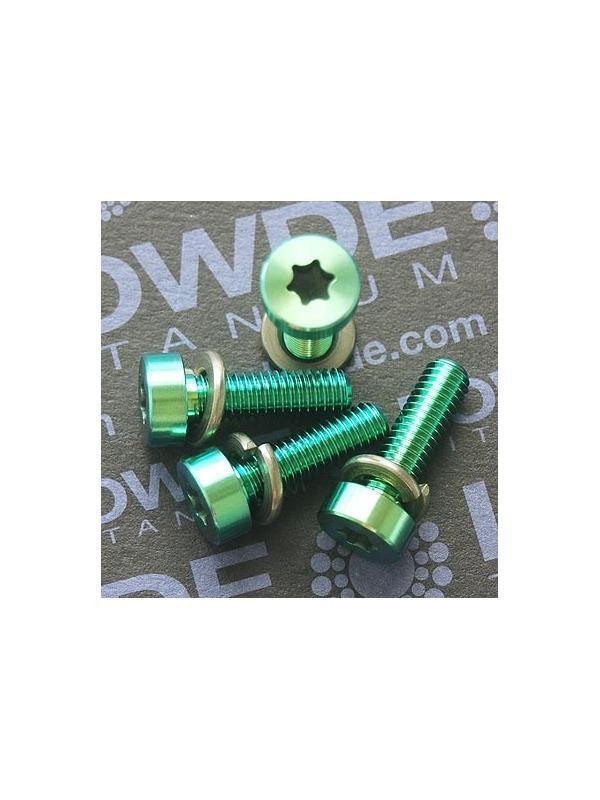 Kit 4 tornillos torx M6x20 mm. de titanio gr. 5. Anodizado verde - Kit 4 tornillos torx M6x20 mm. de titanio gr. 5. Anodizado verde