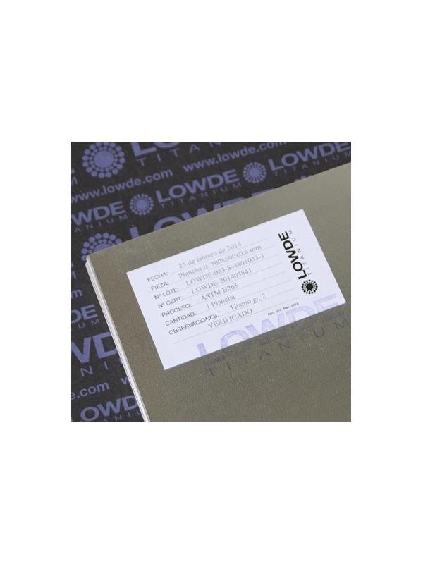 Plancha de TITANIO gr. 2 ASTM B265. Tamaño: 600x0,6x300 mm. - Plancha de TITANIO gr. 2 ASTM B265. Tamaño: 600x300 mm. Grosor: 0,6 mm. Peso: 490 gr.