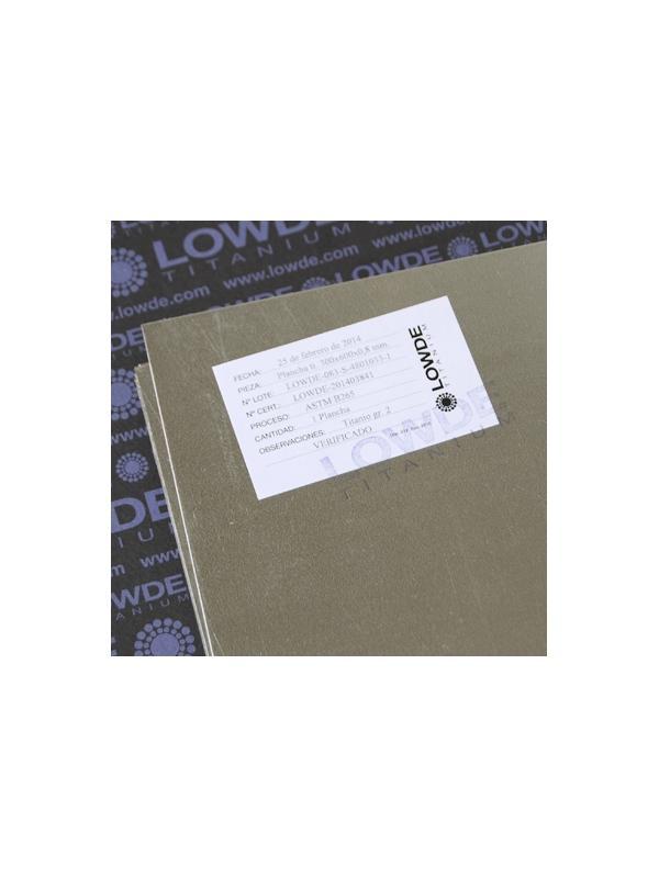 Plancha TITANIO gr. 2 ASTM B265. Tamaño: 600x0,8x300 mm. - Plancha de TITANIO gr. 2 ASTM B265. Tamaño: 600x300 mm. Grosor: 0,8 mm. Peso: 650 gr.