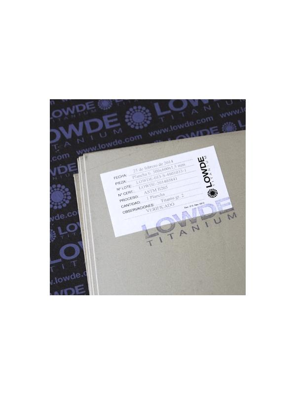 Plancha de Titanio grado 2 (puro) ASTM B265. 600x300x1,5 mm. - Plancha de TITANIO gr. 2 ASTM B265. Tamaño: 600x300 mm. Grosor: 1,5 mm. Peso: 1,22 kgrs.
