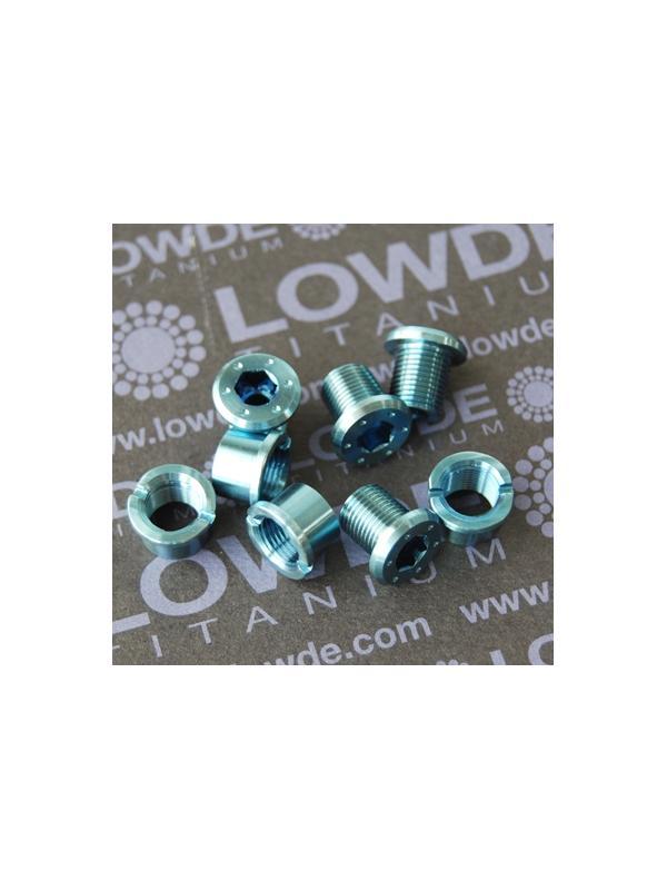 Kit 4 tornillos + 4 tuercas M8x0,75x9 mm. Titanio gr. 5 PLATO BICICLETA Anod. AZUL CLARO - Kit 4 tornillos + 4 tuercas M8x0,75x9 mm. Titanio gr. 5 PLATO BICICLETA Anodizado en color azul claro.