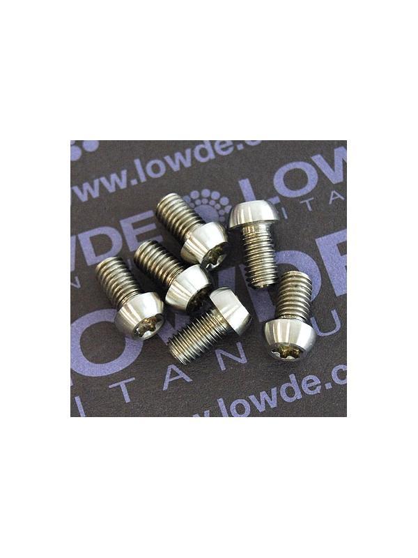 Boton M5x9 mm. Torx T25 de titanio gr. 5 (6Al4V). Diámetro cabeza: 8 mm. - Boton M5x9 mm. Torx T25 de titanio gr. 5 (6Al4V)