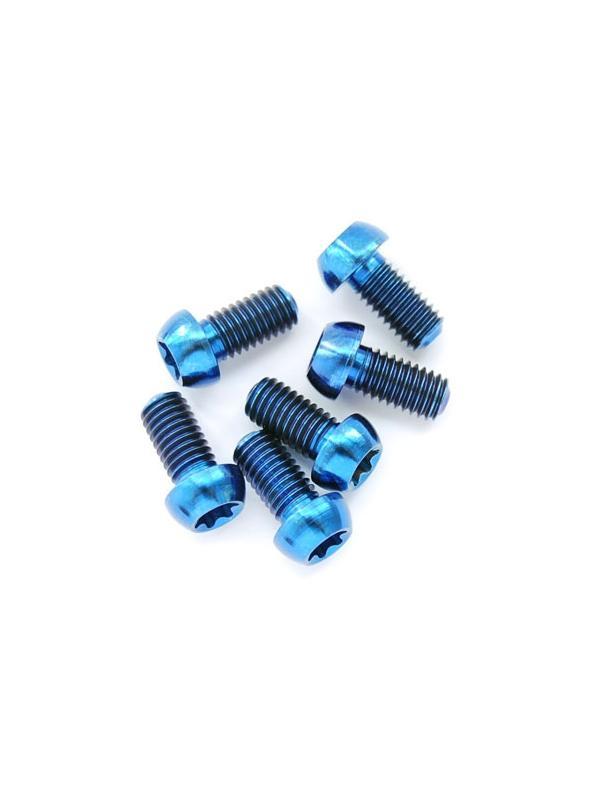 Kit 6 tornillos M5x09 mm. Titanio gr. 5. DISCOS FRENO. Llave torx T25. Anodizado azul - Kit 6 tornillos M5x09 mm. Titanio gr. 5. DISCOS FRENO. Llave torx T25. Anodizado azul