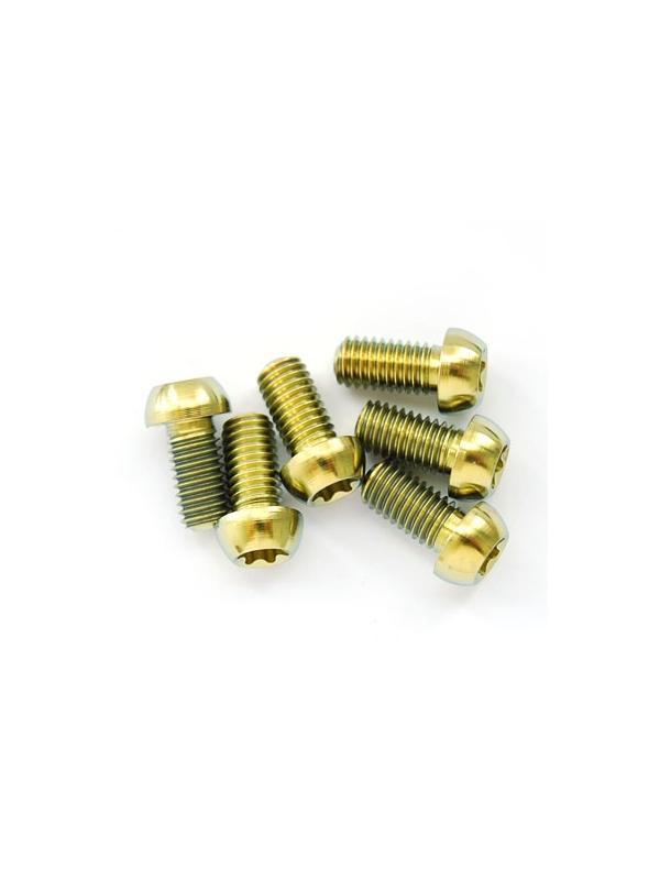 Kit 6 tornillos M5x09 mm. Titanio gr. 5. DISCOS FRENO. Llave torx T25. Anodizado oro - Kit 6 tornillos M5x09 mm. Titanio gr. 5. DISCOS FRENO. Llave torx T25. Anodizado oro
