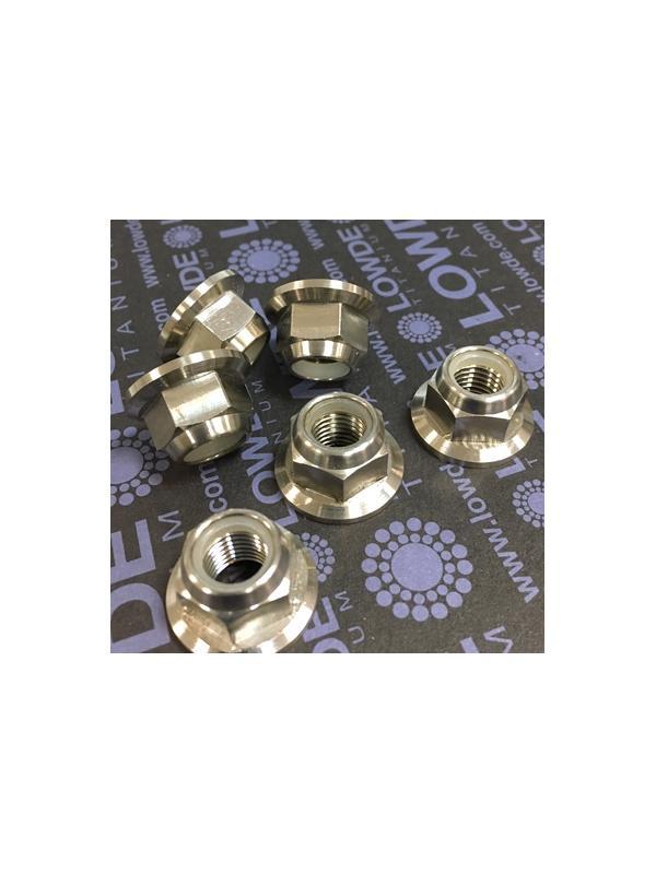 Tuerca DIN 6923 M10x1,25 aublocante de titanio gr. 5 (6Al4V). - Tuerca DIN 6923 M10x1,25 autoblocante de titanio gr. 5 (6Al4V).