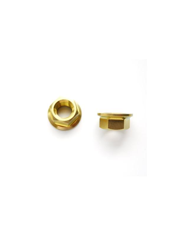 Tuerca DIN 6923 M10x1,25 de titanio gr. 5 (6Al4V). Anodizada oro. - Tuerca DIN 6923 M10x1,25 de titanio gr. 5 (6Al4V). Anodizada oro.