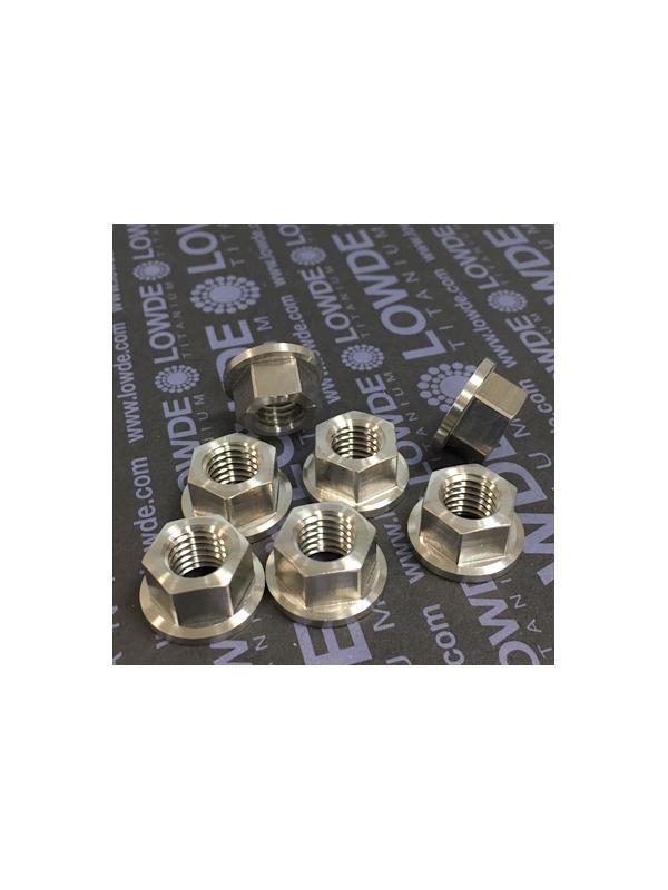 Tuerca DIN 6923 M10x1,50 de titanio gr. 5 (6Al4V). - Tuerca DIN 6923 M10x1,50 de titanio gr. 5 (6Al4V). Diámetro balona: 19 mm.