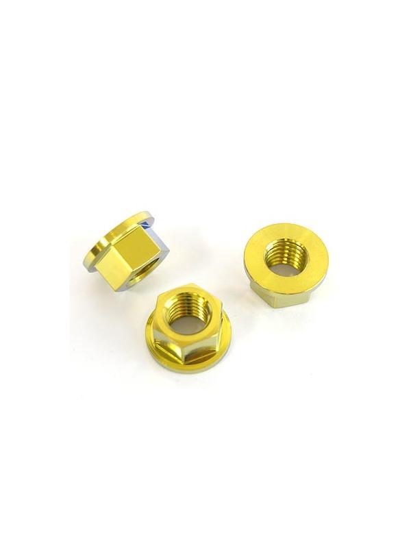Tuerca DIN 6923 M10x1,50 de titanio gr. 5 (6Al4V). Anodizada oro. - Tuerca DIN 6923 M10x1,50 de titanio gr. 5 (6Al4V). Anodizada oro.