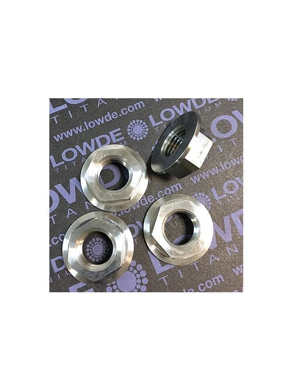 Tuerca DIN 6923 M14x1,50 de titanio gr. 5 (6Al4V). Altura tuerca: 10,5 mm. - Tuerca DIN 6923 M14x1,50 de titanio gr. 5 (6Al4V). Altura tuerca: 10,5 mm.