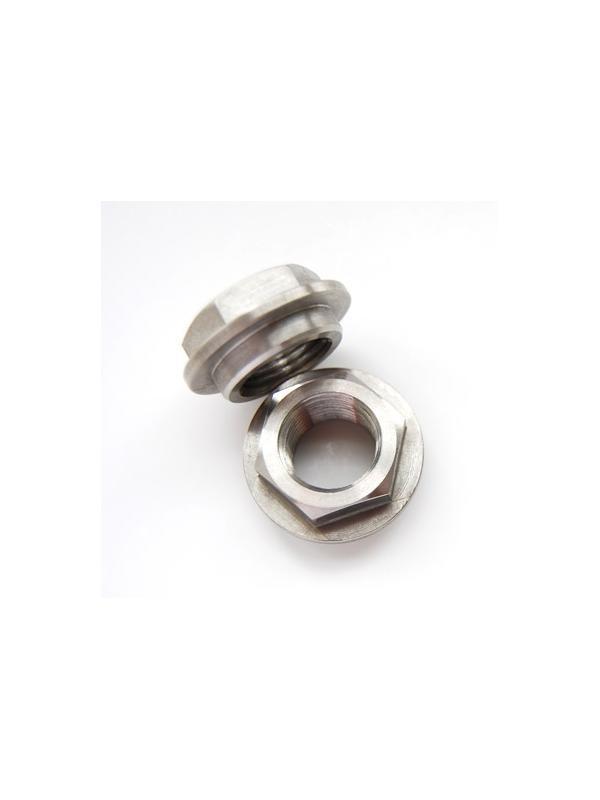 Tuerca DIN 6923 M16x1,50 de titanio gr. 5 (6Al4V). Con distanciador - Tuerca DIN 6923 M16x1,50 de titanio gr. 5 (6Al4V). Con distanciador