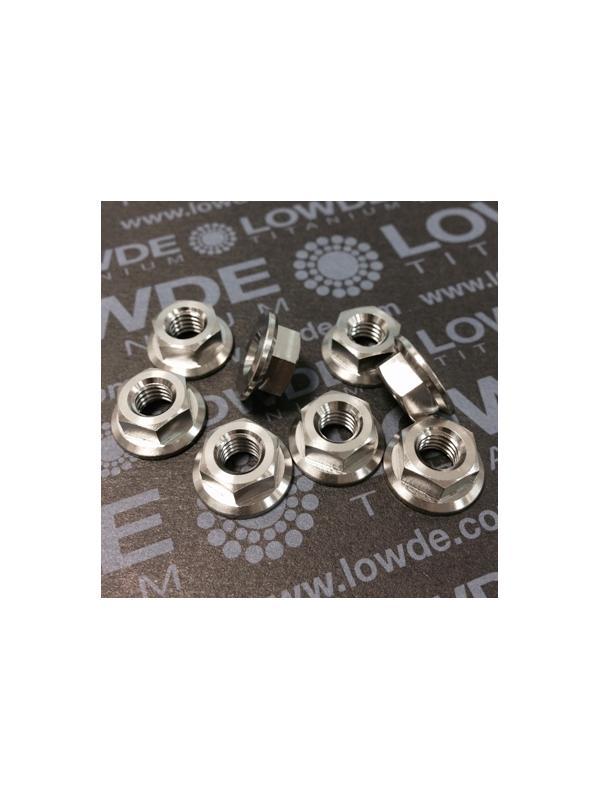Tuerca DIN 6923 M6 de titanio gr. 5 (6Al4V). Altura tuerca: 6 mm. - Tuerca DIN 6923 M6 de titanio gr. 5 (6Al4V). Altura tuerca 6 mm.
