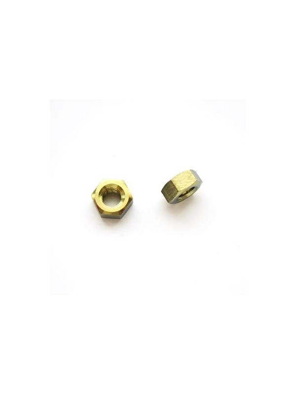 Tuerca DIN 934 M6 de titanio gr. 5 (6Al4V). Anodizada oro - Tuerca DIN 934 M6 de titanio gr. 5 (6Al4V). Anodizada oro.