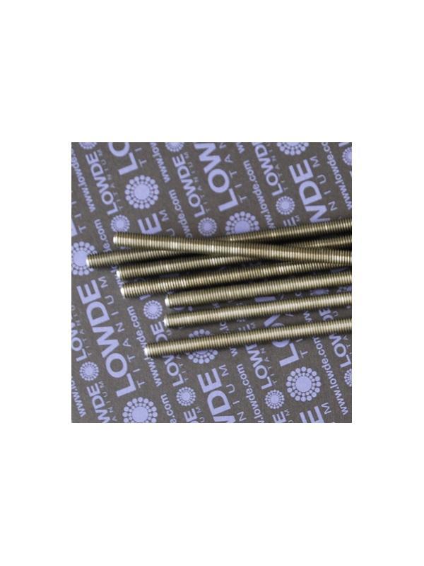 Varilla roscada M8x1,25x1000 mm. de titanio gr. 2 - Varilla totalmente roscada M8x1.000 mm. Paso de rosca de 1,25 (el habitual en métrica 8) Titanio gr. 2.