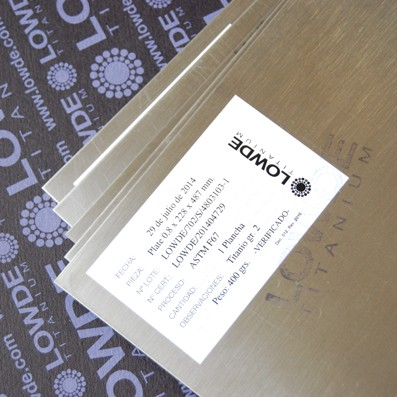 Plancha de Titanio gr. 2 ASTM F67 Tamaño: 228x487 mm. Grosor: 0,8 mm. - Plancha de Titanio gr. 2 ASTM F67 Tamaño: 228x487 mm. Grosor: 0,8 mm. Peso de la plancha: 0,4 kgrs.