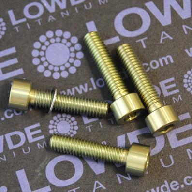 Conjunto 4 tornillos DIN 912 M6x25 titanio gr. 5 (6Al4V) anodizados oro