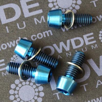 Conjunto 4 tornillos CÓNICOS M6x15 titanio gr. 5 (6Al4V) anodizados azul