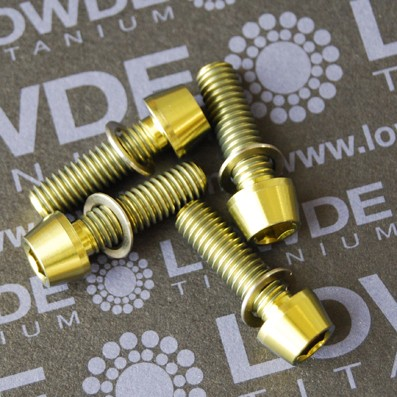 Conjunto 4 tornillos CÓNICOS M6x20 titanio gr. 5 (6Al4V) anodizados ORO - Conjunto 4 tornillos CÓNICOS M6x20 titanio gr. 5 (6Al4V) anodizados ORO
