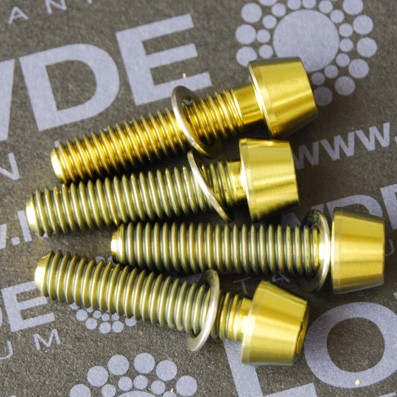 Conjunto 4 tornillos CÓNICOS M6x25 titanio gr. 5 (6Al4V) anod. oro