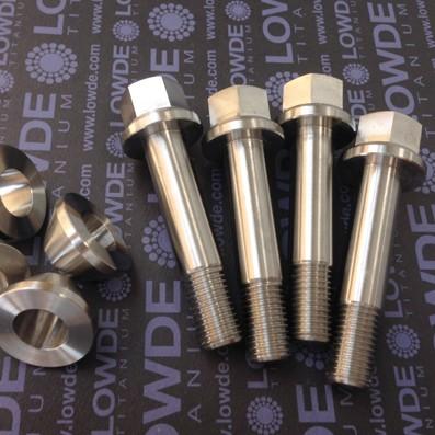 4 Tornillos y 4 casquillos rueda trasera BMW R850/1100GS de Ti gr. 5 (6Al-4V) - 4 Tornillos M12x60 mm. y 4 casquillos cónicos rueda trasera BMW R850/1100GS de Ti gr. 5 (6Al-4V)