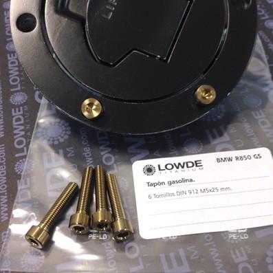 6 Tornillos DIN 912 M5x25 tapón depósito BMW R850GS de Ti gr. 5 (6Al-4V) - 6 Tornillos DIN 912 M5x25 tapón depósito R850/1100GS de Ti gr. 5 (6Al-4V)